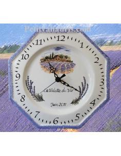 Horloge pour Anniversaire décor Champs de lavande