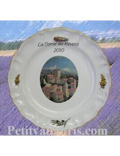 Assiette avec décor personnalisé pour collectivité ou association décor Mimosas et Olives