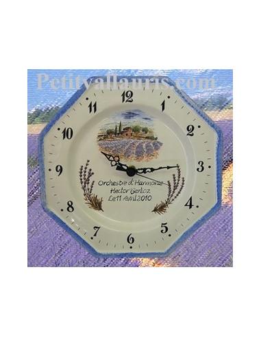 Horloge en fa ence octogonale d cor champs de lavande for Le petit vallauris