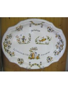 Plat ovale en céramique modèle Clairissy décor et inscription personnalisés