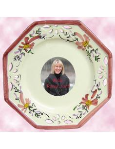 Assiette octogonale avec photo décor Fleuri rose