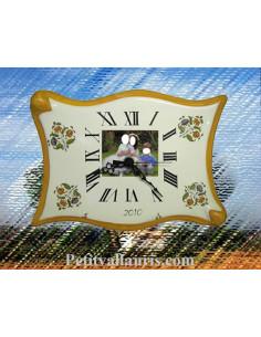 Horloge avec photo décor Fleurs Moustiers en céramique