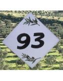 Numéro de maison décor brins d'olives chiffre noir pose diagonale