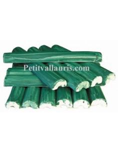 Listel fin ou corniche émaillée couleur unie vert foncé