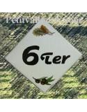 Numéro de maison décor brin d'olives et cigale chiffre noir pose diagonale