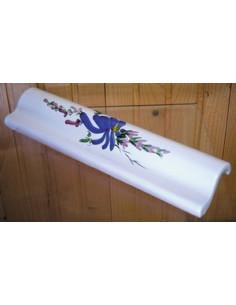 Listel fin ou corniche émaillée décor fleur bleue