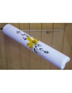 Listel fin ou corniche émaillée fleuri jaune orangé