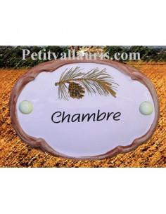 Plaque de porte ovale Chambre décor pigne de pin