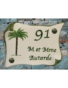 Plaque de Maison parchemin décor personnalisé palmier inscription verte