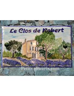 Plaque de Villa rectangle décor personnalisé paysage bastide,pins et champs lavandes inscription personnalisée verte