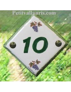 Numéro de rue ou de maison décor grappe de raisin pose verticale chiffre vert