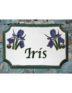 Plaque de Maison rectangle décor et texte personnalisés iris bleus inscription et bord verts