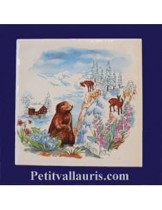 Carreau décor Marmottes et Chamois en montagne 10 x 10 cm