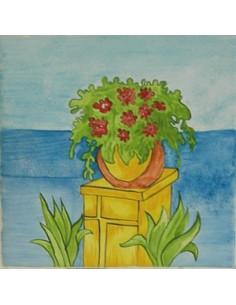 Carreau décor vase d'entrée exotique n°11. 15 x 15 cm