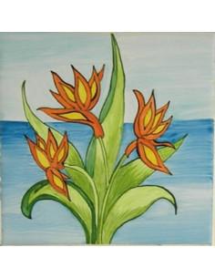 Carreau décor Fleur exotique n°9 15 x 15 cm