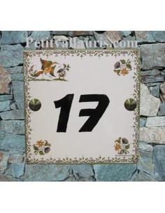 Numéro de Maison 15x15 cm décor tradition vieux moustiers