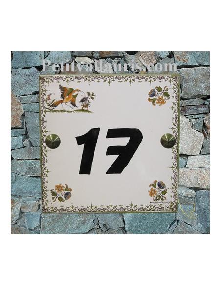 Plaque numéro de maison en faience émaillée décor tradition polychrome + chiffre personnalisé noir
