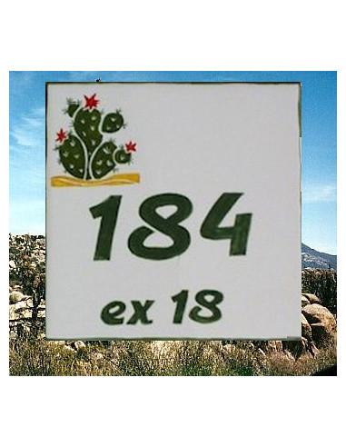 Numéro de Maison pose horizontale décor cactus chiffre vert