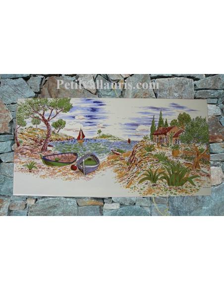 Fresque sur grand carreau rectangulaire en faience décor calanque et cabanon sur fond blanc brillant