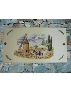 Fresque céramique rectangulaire décor Moulin et Meunier