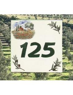 Numéro de Maison pose horizontale décor cabanon et brins d'olive texte vert