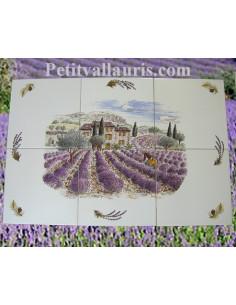 Fresque céramique rectangulaire décor Haute Provence n°3 sur carreau de 20