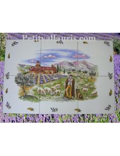 Fresque faïence Provençale décor Berger sur carreau de 20