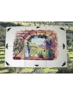 Fresque faïence Trompe L'oeil horizontal sur carreau de 20 décor Provence