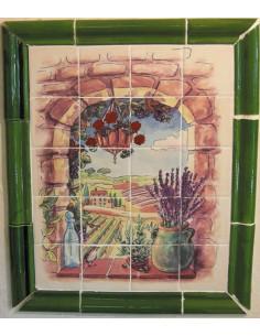 Fresque faïence Trompe L'oeil verticale décor Provence