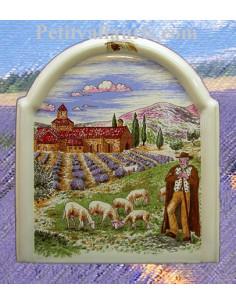 Fresque moulure en faïence décor Paysage Berger et champs de lavande