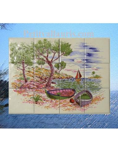 Fresque en fa ence murale d cor calanques le petit vallauris for Le petit vallauris