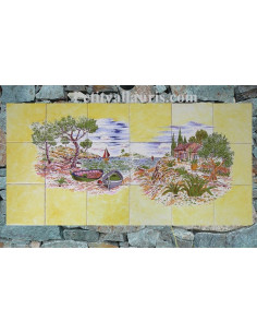 Fresque céramique rectangulaire décor Calanques sur fond jaune 45 x 90 cm