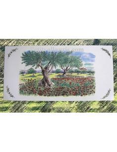 Fresque faïence décor Champs de coquelicots et oliviers