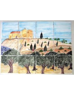 Fresque décor Chapelle sur colline provençale 40 x 30 cm