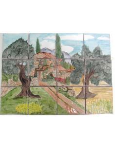 Fresque décor Bastide Pierres et Oliviers 40 x 30 cm