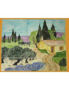 Fresque murale sur carrelage Cabanon et Campagne Provençale