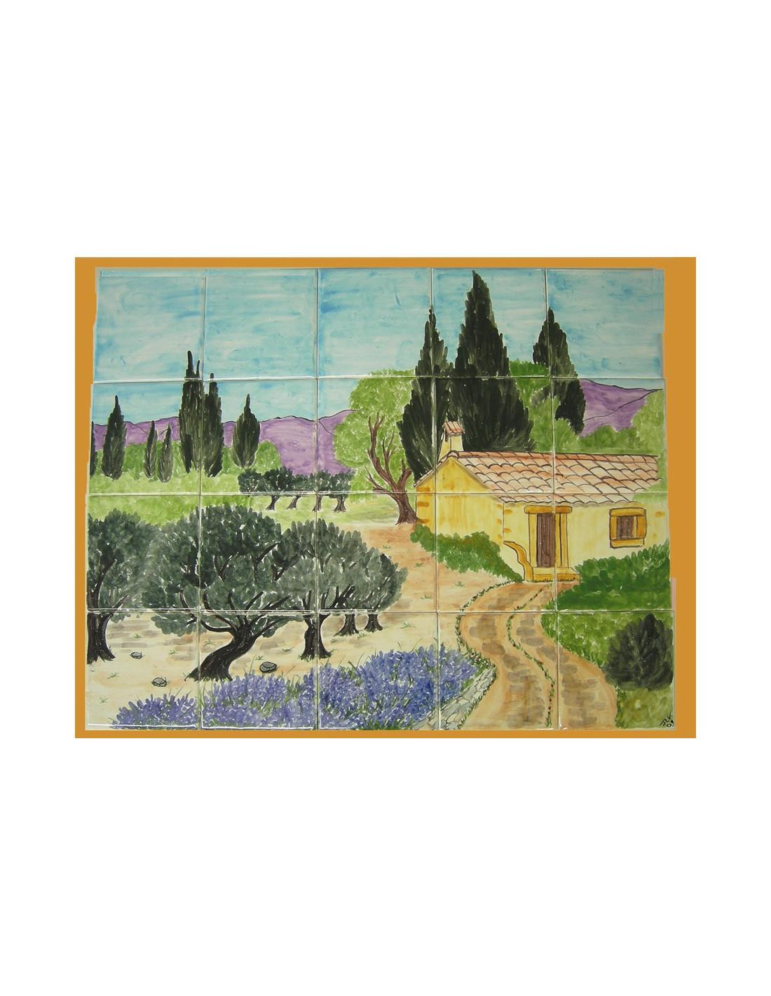 Fresque murale sur carrelage cabanon et campagne provenale - Fresque carrelage mural ...