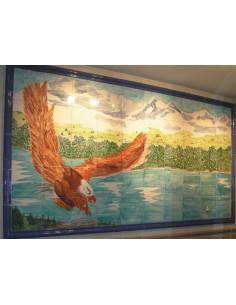 Fresque sur carreau aigle pour résidence 100 x 200 cm