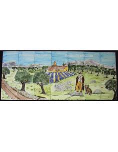 Fresque murale carrelage décor berger paysage Provence