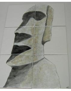 Fresque murale sur carrelage décor statue Ile de Pâques