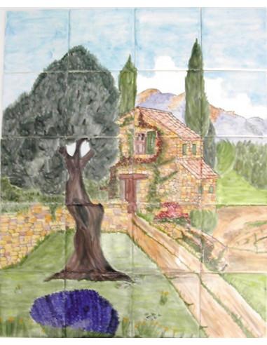 fresque murale sur carrelage d cor vieille bastide et olivier le petit vallauris. Black Bedroom Furniture Sets. Home Design Ideas