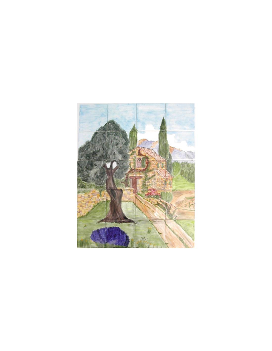 Fresque murale sur carrelage d cor vieille bastide et for Fresque murale carrelage
