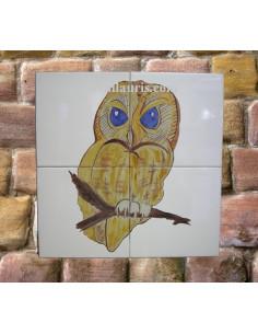 Fresque sur carrelage en faïence décor Chouette