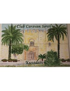 Fresque mural en faïence carrelage décor Club Caravan