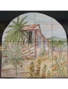 Fresque murale sur faïence décor Exotique arrondi