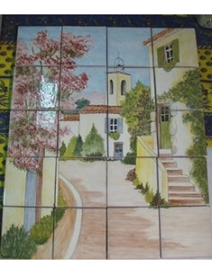 Fresque mural carrelage fa ence d cor le village le for Faience decorative murale