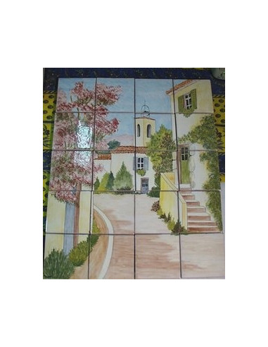 fresque murale en faience artisanale fabriqu e dans le sud de la france au motif rue du village. Black Bedroom Furniture Sets. Home Design Ideas