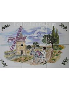 Fresque sur carrelage décor Faïence décor meunier et moulin