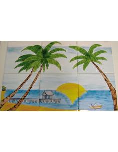 Fresque mural en faïence carrelage décor Plage Cocotier