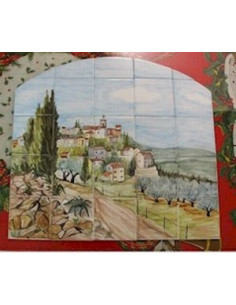 Fresque en faïence sur carreau décor Solliès Ville